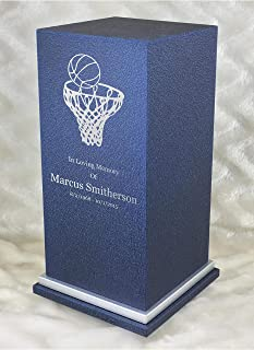 Personalized Engraved Basketball Cremation Urn for Human Ashes -Made in America-Handcrafted in The USA by Amaranthine Urns- Eaton SE- Adult Funeral Urn-up to 200 lbs Living Weight (Deep Sea Blue)