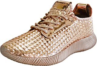 ROXY ROSE Women Metallic PU Leather Sneaker Lightweight Quilted Lace Up Pyramid Studded