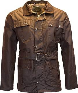 Mens Belted Wax 4 Pocket Motorcycle Waterproof Jacket