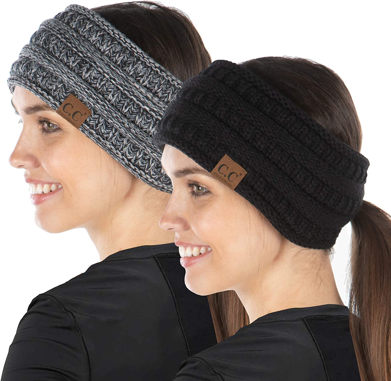 2-Pack Ponytail Headwrap - Black, 4-Tone Black/Grey #31