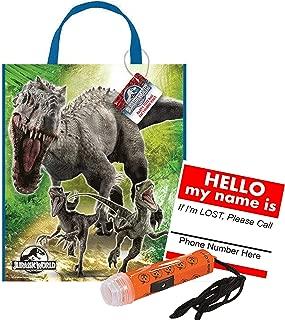 Jurassic World Reusable Medium Sized Halloween Trick Treat Candy Loot Bag!! Plus Bonus Safety First Sticker & Mini Halloween Flashlight Necklace!