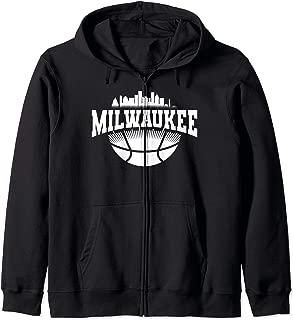 Milwaukee Skyline Cityscape Downtown Basketball Souvenirs Zip Hoodie