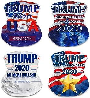 ATIMIGO Trump 2020 Face Mask Mouth Cover Bandanas Neck Gaiter Balaclavas for Dust Outdoors Festivals Sports-4 Pack