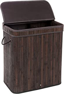 SONGMICS Divided Bamboo Laundry Basket Double Hamper with Lid Handles and Removable Liner Two-section Dirty Clothes Storage Sorter Rectangular Dark Brown ULCB64B