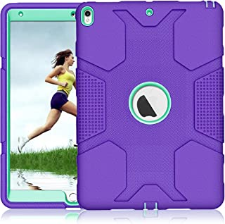 iPad Air 3 Case iPad Pro 10.5 Case A1701 A1709, ZHK Rugged Heavy Duty Anti-Slip Shockproof Hybrid Hard Rubber Bumper Protective Case with Kickstand for iPad Pro 10.5-inch - Purple Teal