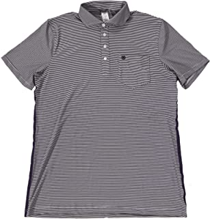by Peter Millar Men's Onyx Striped S/S Slim Polo Shirt with Purple Rubber Side Stripes