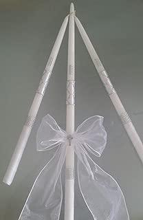 Greek Orthodox Baptism Wedding Candles Lambada Silver and White Christening