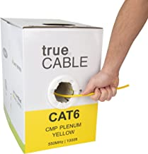 Cat6 Plenum (CMP), 1000ft, Yellow, 23AWG 4 Pair Solid Bare Copper, 550MHz, ETL Listed, Unshielded Twisted Pair (UTP), Bulk Ethernet Cable, trueCABLE