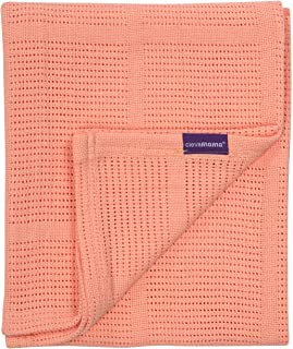 ClevaMama Baby Cellular Blanket - Pram and Basket 70x90 cm, 100% Cotton - Coral