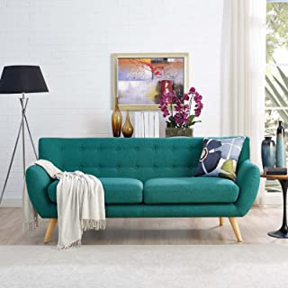 Modway Remark Mid-Century Modern Sofa With Upholstered Fabric In Teal