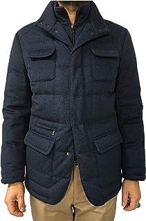 MANDELLI Giacca Uomo Blu mélange con Pettorina MOD 05T747 100% Cashmere Imbottitura 100% Piuma d'Oca Made in Italy