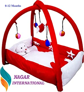 Nagar International Baby Luxury and High Quality Bassinet & Cradle Bedding Set in Large Size (Polyester Red, 0-12 Months)