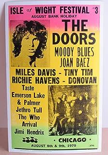 Vintage Doors HENDRIX MOODY BLUES Concert Poster 1970 ISLE OF WRIGHT