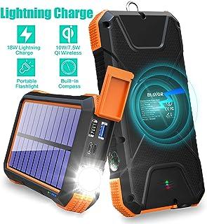 BLAVOR Cargador Solar Power Bank 18W, QC 3.0 Cargador inalá