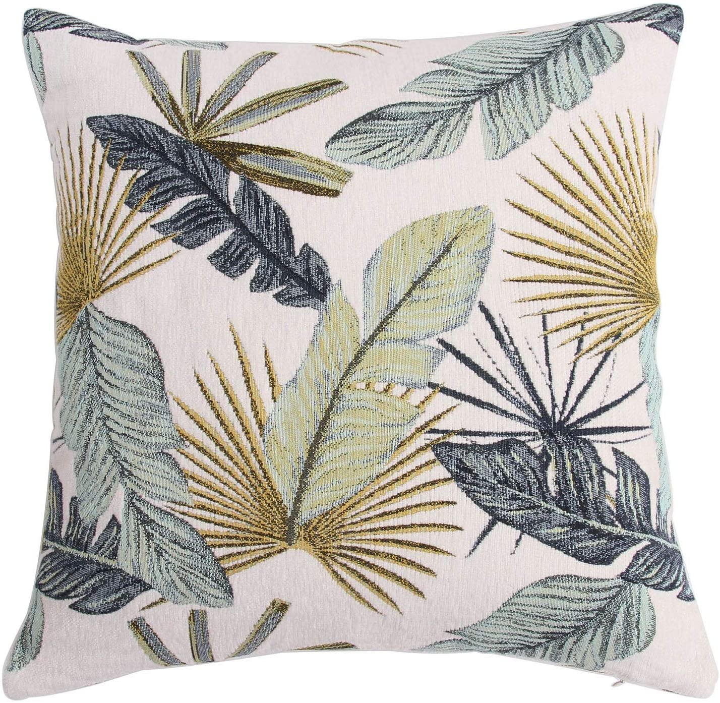 Yeiotsy Pillow Case, Decorative Tropical Leaf Throw Pillow Cover Heavy Fabric Jacquard Chenille (Yellow, 18 x 18 Inches)