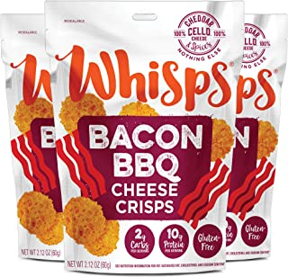 Whisps Bacon BBQ Cheese Crisps | Keto Snack, No Gluten, Zero Sugar, Low Carb, High Protein | 2.12oz (3 Pack)
