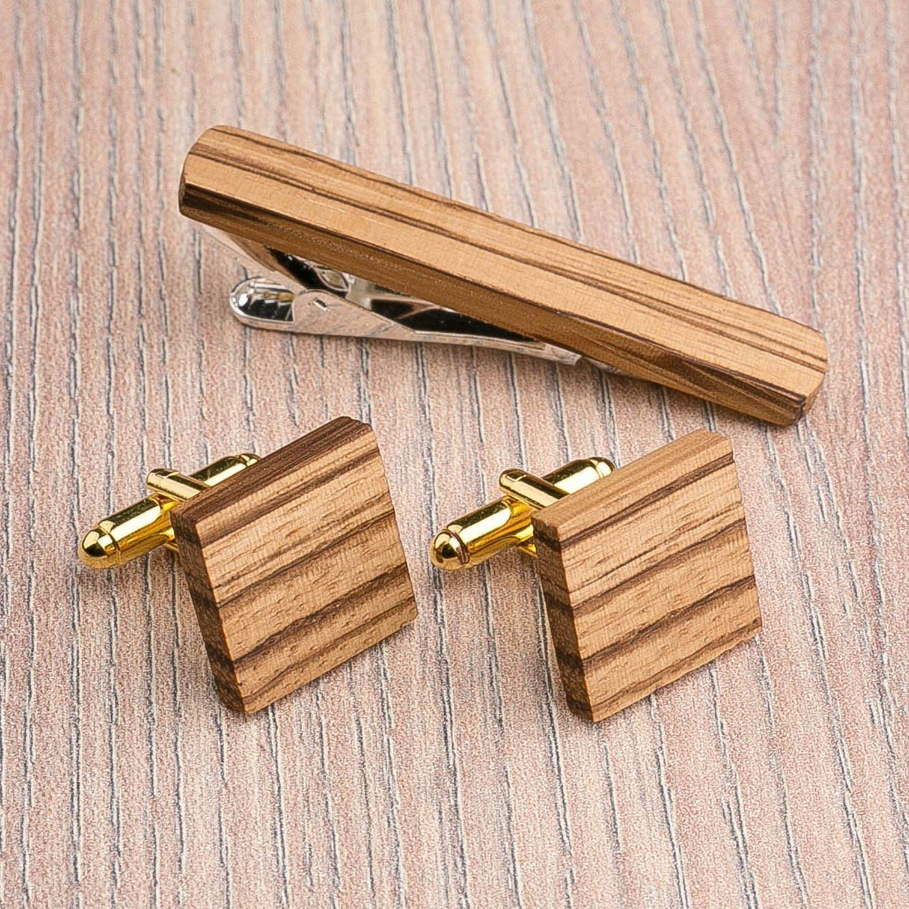 Square Ranking TOP14 Wood Cufflinks and Tie Zebrano wood. Multicolor Set. Clip Dealing full price reduction