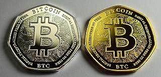 Bitcoin - Par de álbumes de Monedas conmemorativas de Plata y Oro de 24 Quilates,