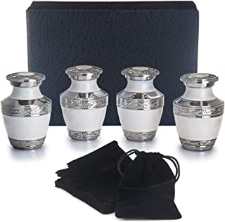 Adera Dreams Small Urns for Human Ashes Keepsake - Set of 4 in Pearl White - Mini Cremation Urns - Memorial Ashes Urn with Case, Velvet Pouch and Funnel - Miniature Burial Funeral Urns for Sharing Ash