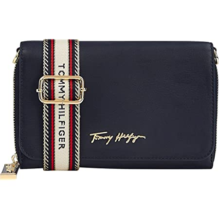 Tommy Hilfiger Damen Tasche Iconic Crossover Bag Synth. glatt/genarbt blau
