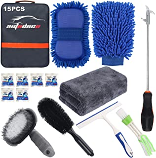 AUTODECO 15Pcs Car Wash Cleaning Tools Kit Car Detailing Set with Blue Canvas Bag Chenille Microfiber Wash Mitt Sponge Towels Tire Brush Window Scraper Duster Complete Interior Car Care Kit