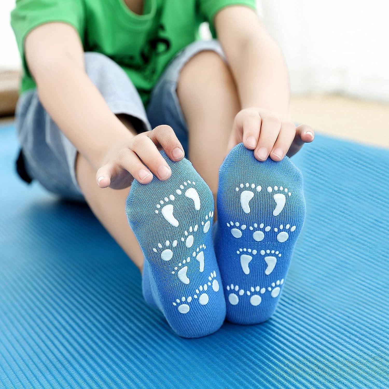 VWU Slipper Socks Anti Slip Grip Trampoline socks Cotton for Toddler Kids Boys Girls Teens 9-pack