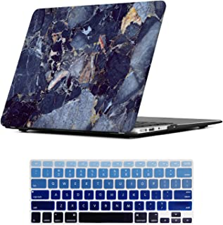 MacBook Air 13 Inch Case, iCasso Rubber Coated Hard Case with Keyboard Cover Only Compatible Older Macbook Air 13 (Models: A1369 / A1466 , Older Version Release 2010-2017) , Navy Blue Marble