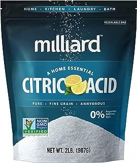 Milliard Citric Acid 2 Pound – 100% Pure Food Grade NON-GMO Project VERIFIED (2 Pound)
