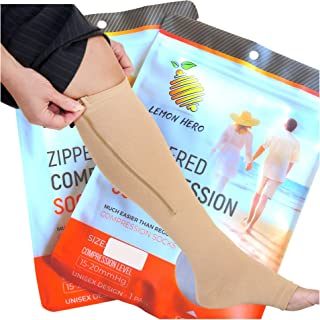 Zippered Medical Compression Socks with Open Toe - Best Leg Support Stockings for Men and Women (2X-Large Short, Beige)