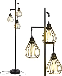 Brightech - Teardrop LED Industrial Floor Lamp for Living Room - Rustic, Tall Tree Lamp with 3 Hanging Edison LED Light Bulbs - Vintage Lamp for Ambience - Black