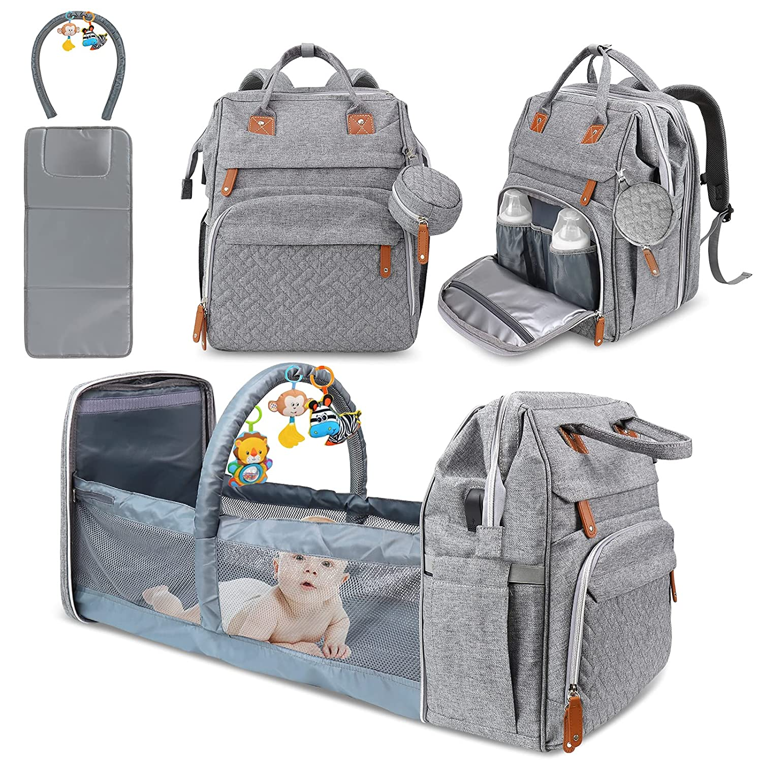 Baby Diaper Bag Backpack, Diaper Changing Station,Derjunstar Portable Crib Bakcpack for Boys Girls,Waterproof Changing Pad,USB Charging Port,Pacifier Case, Sunshade and Toy Bar