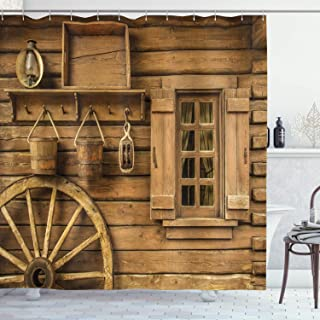 Ambesonne Western Decor Collection, Ancient Wagon Wheel Rustic Wooden Vintage Lantern Window and Buckets Picture, Polyester Fabric Bathroom Shower Curtain Set with Hooks, 75 Inches Long, Khaki