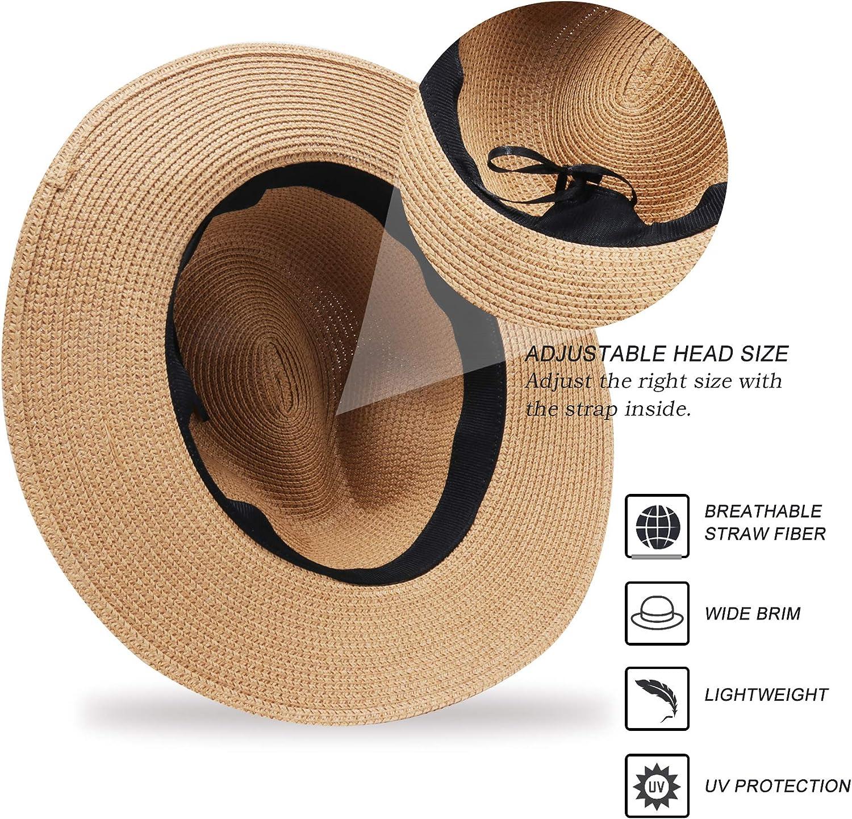 BLURBE Women Straw Sun Hat Wide Brim Panama Hat Fedora Beach Hat Foldable Roll up Floppy Summer UV Hat Caps with Bowknot