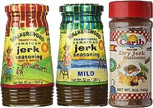 Walkerswood Jamaican HOT & MILD Jerk 10oz with Dry Jerk 5oz Seasonings (Pack of 3)