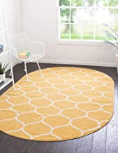 Unique Loom Trellis Frieze Collection Lattice Moroccan Geometric Modern Oval Rug, 4 x 6 Feet, Yellow/Ivory