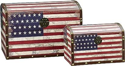 Household Essentials Decorative Storage Trunk, American Flag Design, Jumbo and Medium, Set of 2