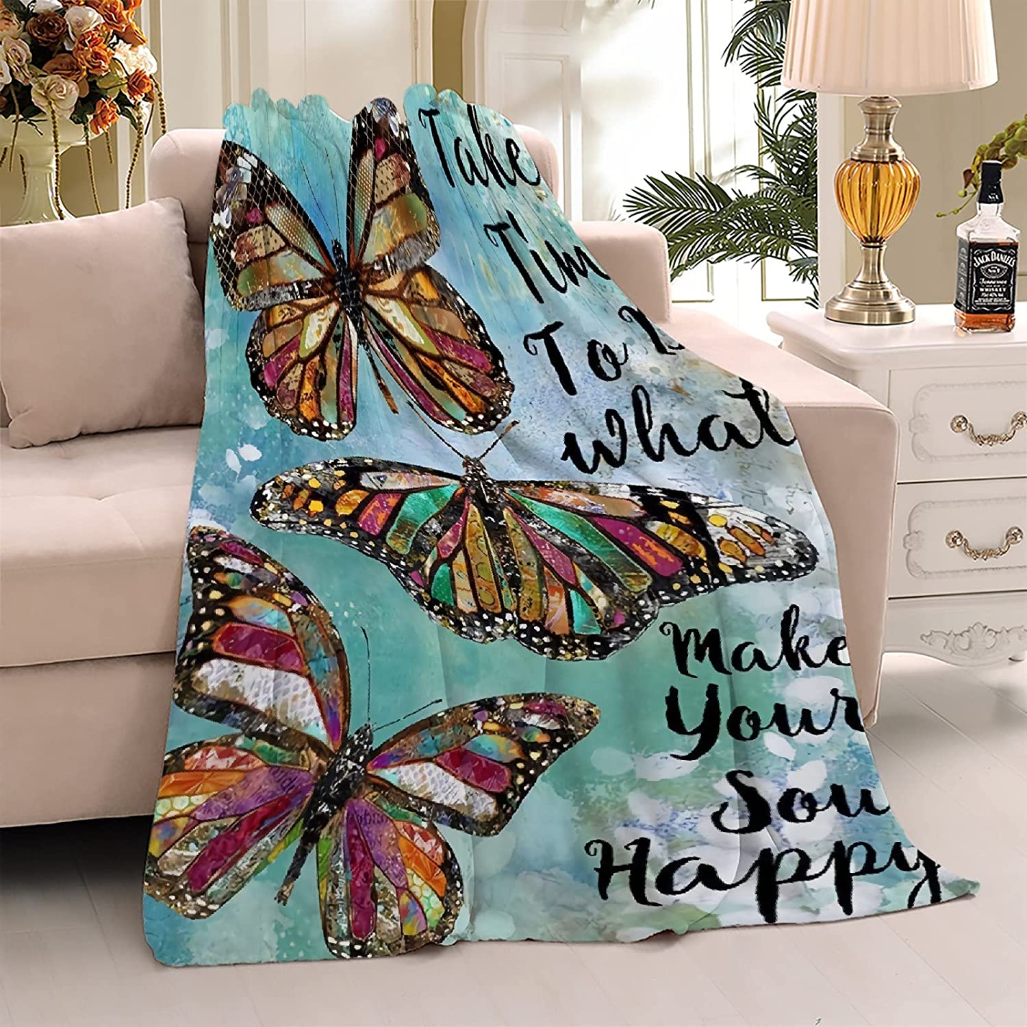 ZOE Latest item DAVISON Butterfly Retro Flannel Blankets Used C for Bed Sofa Las Vegas Mall