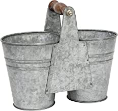 Stonebriar Conservatory Antique Galvanized Double Bucket with Wood Handle, Silver