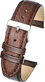 Alpine Soft Stitched Semi Padded Genuine Leather Buffalo Grain Watch Band in Extra Long for Wider Wrists ONLY- Black, Brown, Tan in Sizes 18XL to 26XL (fits Wrist Sizes 7 1/2 to 9 inch)