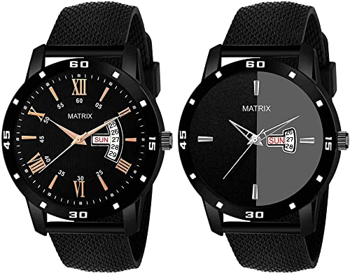 Matrix Pair of The Year Day Date Black Watches for Men Boys Set of 2 PR 60 66