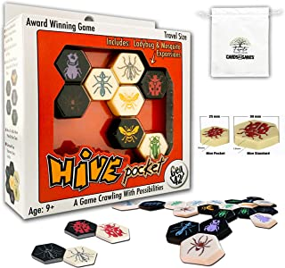 Hive Pocket Version Board Games with Rich in Learning Opportunities Bundle with Random Color Drawstring Bag