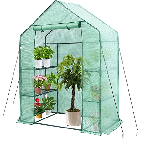 Greenhouse, Hanience Walk-in Greenhouse with Anchors and Ropes, 3 Tier 4 Wired Shelves Indoor and Outdoor Greenhouse for Garden/Patio/Backyard/ Balcony, Green PE Cover