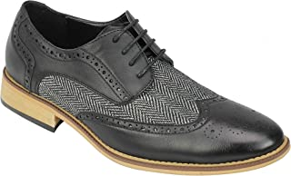 Mens Classic Gatsby Style Tweed Herringbone Smart Formal Brogue Shoes Classic Oxford Lace Ups