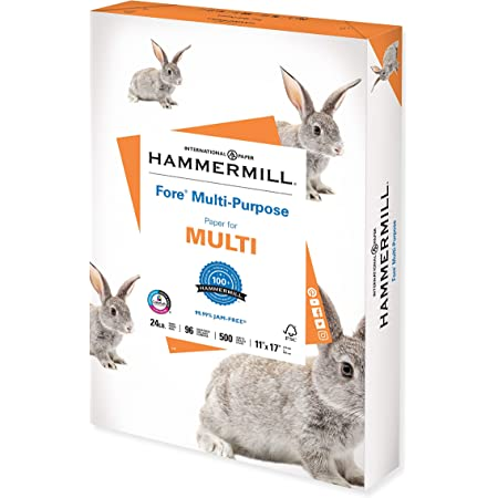 Hammermill Printer Paper, Fore Multipurpose 24 lb Copy Paper, 11 x 17 - 1 Ream (500 Sheets) - 96 Bright, Made in the USA, 102848