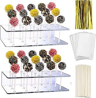 KKOBHO 2 Pack Acrylic Lollipop Holder Acrylic Cake Pop Stand 100PCS Clear Treats Bags 100PCS Lollipop Sticks and 100PCS Gold Metallic Twist Ties for Candy Cake Pop Sticks Tools ساخت (2)