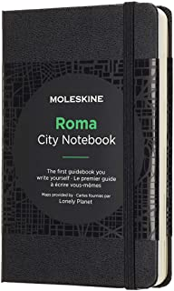 Moleskine 9 x 14 cm City Notebooks Rome with Plain and Ruled Pages, Hard Cover, Elastic Closure and City Maps - Black