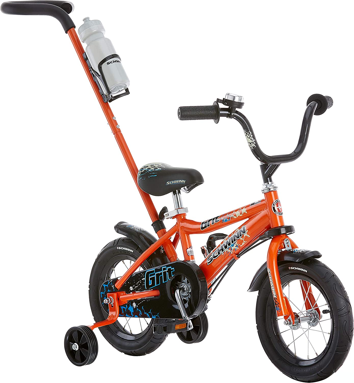 Schwinn Petunia and Grit Steerable Kids Bikes, Featuring Push Handle for Easy Steering, Training Wheels, Enclosed Chain Guard, QuickAdjust Seat, and 12Inch Wheels, in Pink White and orange Black