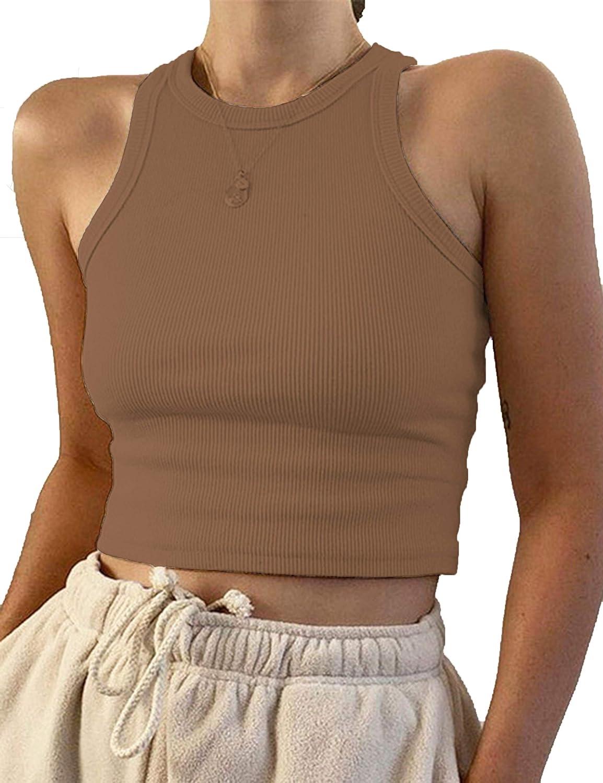 SAFRISIOR Women Basic Solid Sleeveless Round Neck Fitted Vest Cotton Crop Tank Tops