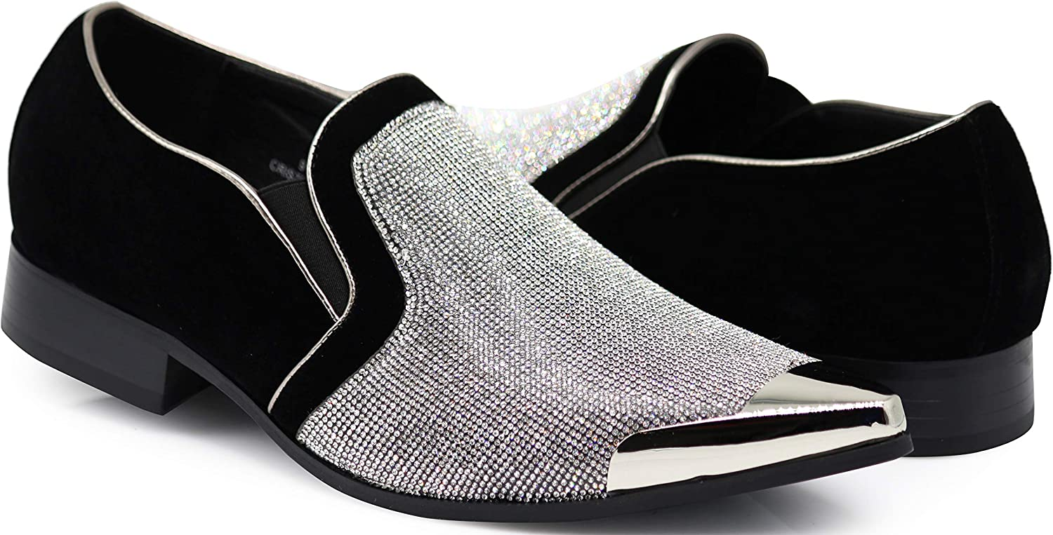 Enzo Romeo Crisiano Men Rhinestone Chrome Toe Suede Pointy Dress Loafer Slip On shoes