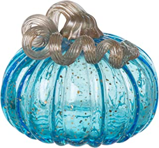 Glitzhome 1209002501 Hand Blown Blue Glitter Glass Pumpkin, 5.12 Inch